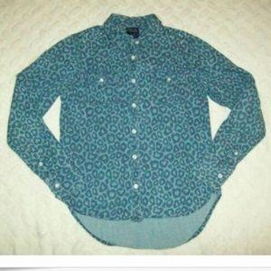 Girls Blue Animal Print Denim Shirt Longsleeve